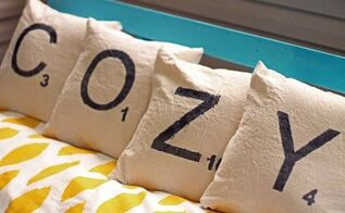 diy scrabble letter pillows from drop clothes, crafts, how to, reupholster