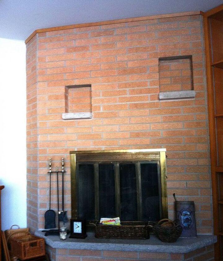 Ugly orange brick fireplace.