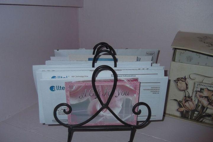 A vintage toast holder makes a good tickler file for monthly mail.