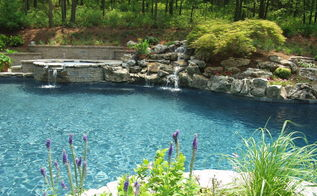 a facelift for a 22 year old this one needed it see how we transformed this, outdoor living, pool designs, spas, Natural freeform gunite swimming pool with new spillover spa mossrock waterfall tumbled stone patio landscaping