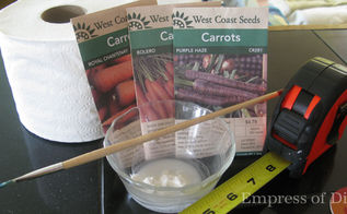 how to make seed tapes for planting tiny seeds, gardening, I like to grow a wide variety of carrots in all different colours You ll need flour water a paint brush or pencil ruler seeds and fine tip marker