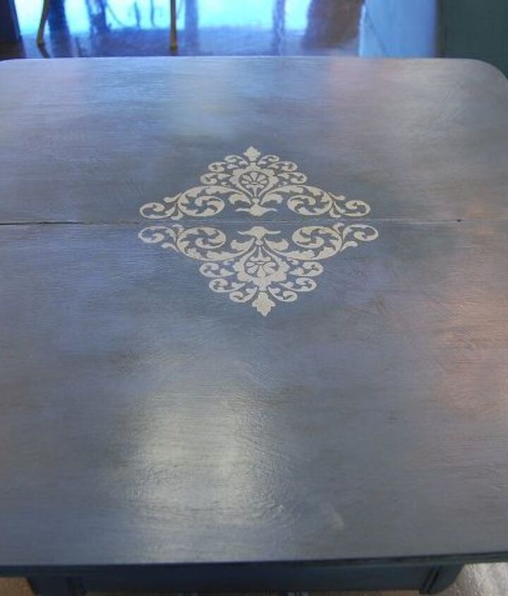 Painted with La Craie's French Blue, stenciled, then antiqued using clear and dark wax.