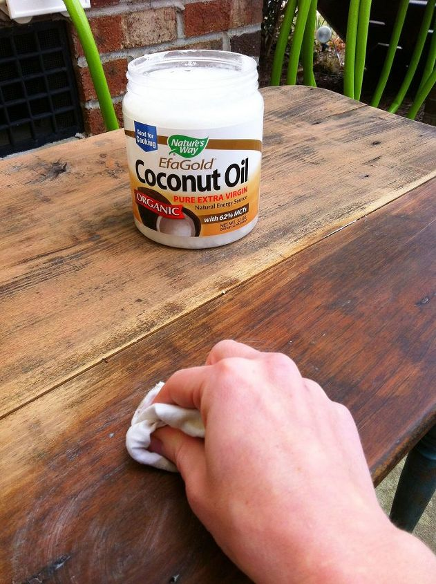 Refinishing Old Wood With Coconut Oil Painted Furniture Apply Dry Rag
