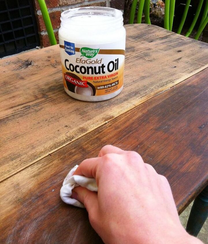 Apply coconut oil with dry rag.