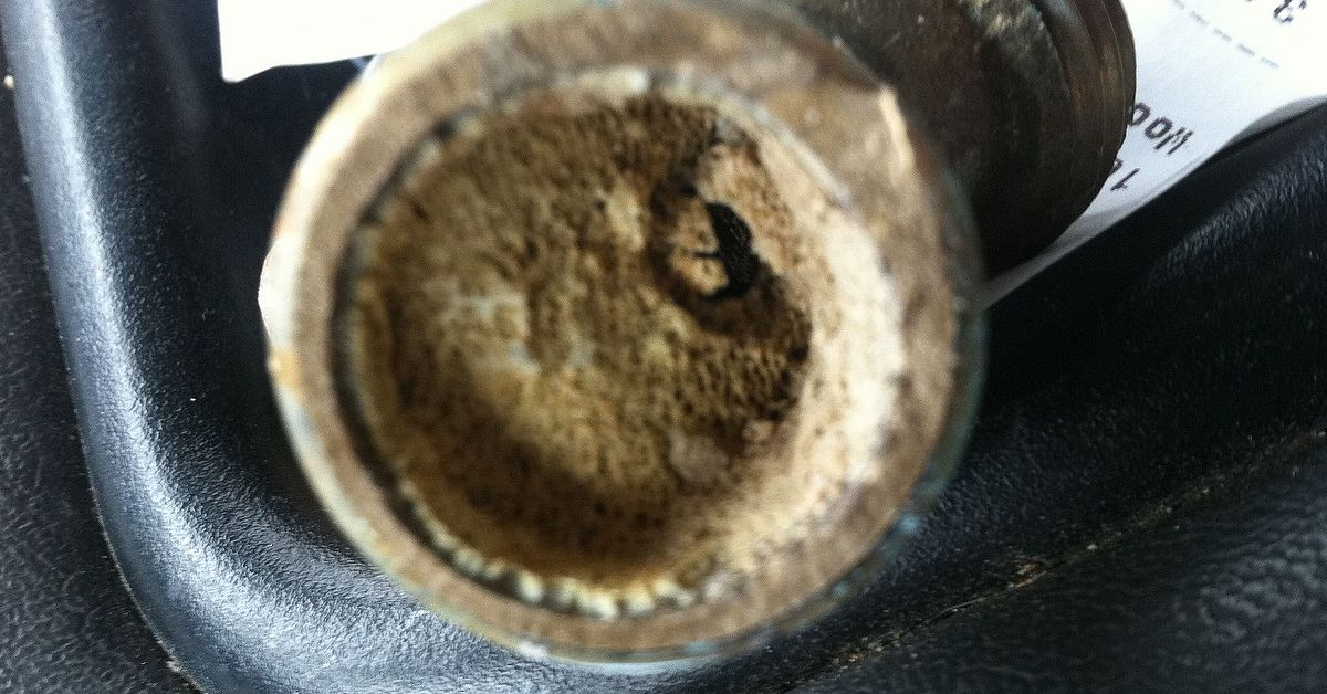 Sediment in a hot water heater.