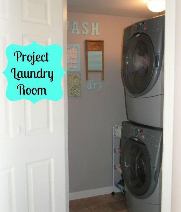 laundry room, cleaning tips, laundry rooms, shelving ideas, storage ideas, Stacked washer dryer gave me much needed space in a small room