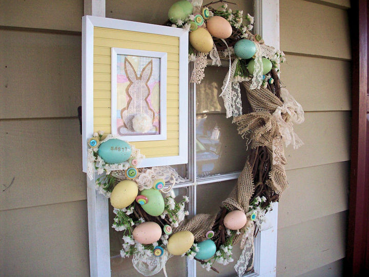 blogs and hometalk inspired vintage easter wreath, easter decorations, seasonal holiday d cor, wreaths, Burlap wired ribbon over grapevine with speckled eggs was the starting point the window I used from my Welcome Window Wreath post is definitely now a front porch fixture
