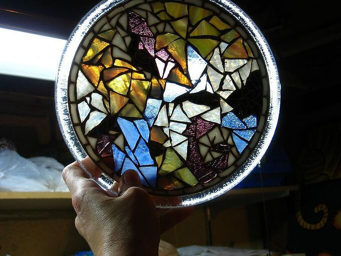 stained glass mosaic trivet, crafts, The clear back makes it beautiful as a display piece or for practical use