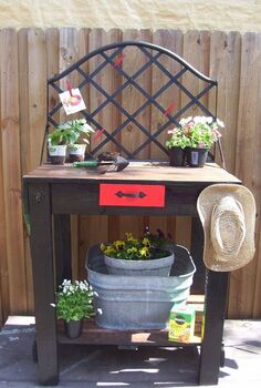 pallet potting table 2 ready for spring, diy renovations projects, gardening, pallet projects, Completed Table
