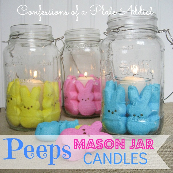 Easter Fun My Peeps Mason Jar Candles Crafts Decorations Jars