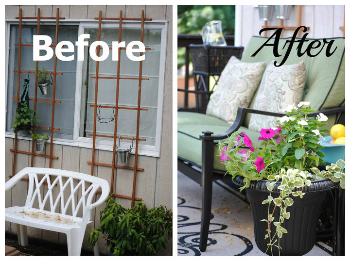 Can you believe the transformation?  A dirty and neglected wall becomes an oasis of outdoor living; we gained a whole new outdoor living room!