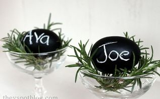 a last minute addition to my easter brunch table chalkboard egg place cards so, chalkboard paint, crafts, easter decorations, seasonal holiday decor, I clipped a bit of fresh rosemary but you could use anything I put them in vintage champagne glasses