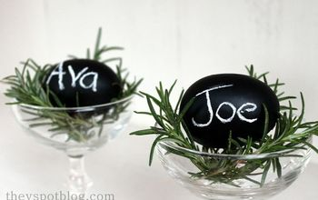 "A last minute addition to my Easter Brunch table.  Chalkboard egg ""place cards""  So easy!"