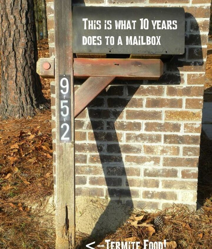 This is the old mailbox post. You can see the termite damage at the bottom.