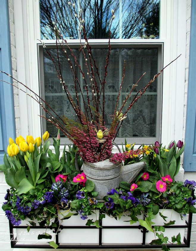 window box filled with spring blooms