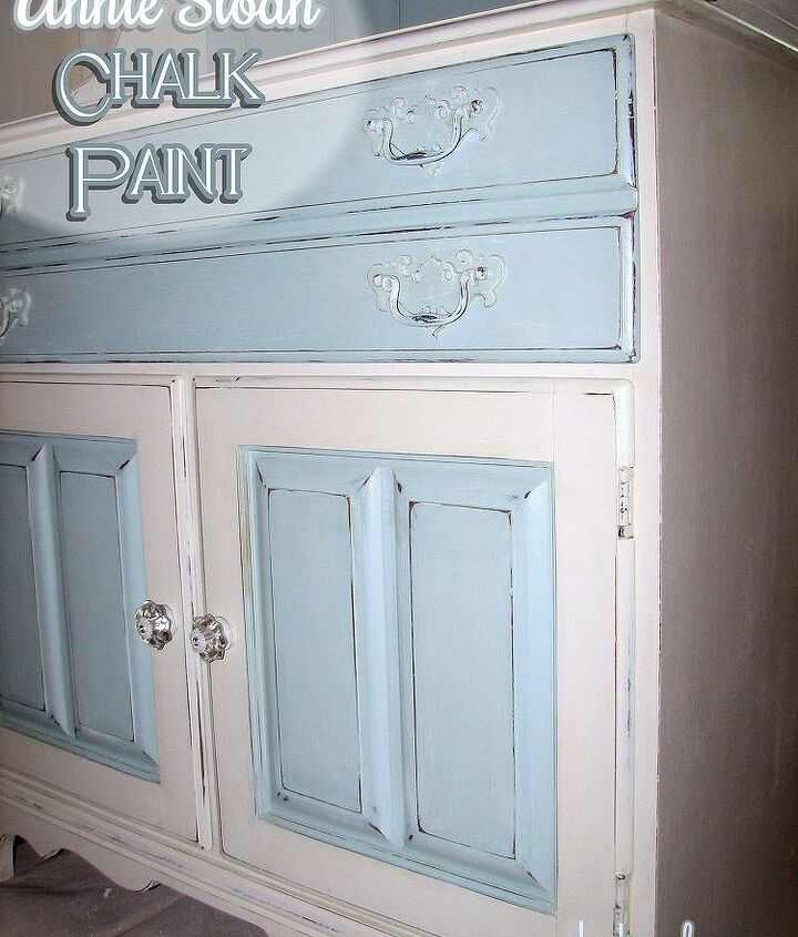 Chalk painted/ 2 tone/ 2 piece hutch.