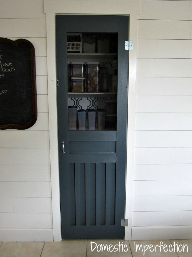 Custom screen door we built, written about in a separate post.  http://www.domesticimperfection.com/2012/10/diy-screen-door-for-the-pantry/