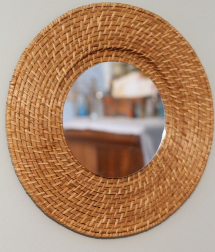 Learn how to turn a $1 thrift store plate charger into a gorgeous knock off mirror!  http://www.thecountrychiccottage.net/2013/03/quick-and-easy-woven-mirror-knock-off.html