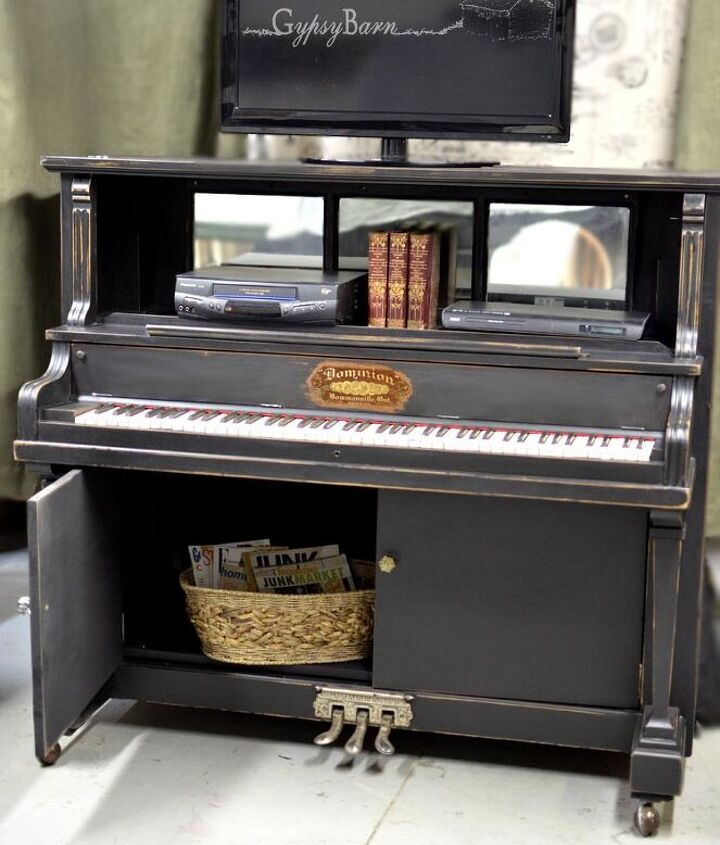 Repurposed Piano into an entertainment unit. Visit us at http://www.facebook.com/gypsybarn for more repurposing fun!