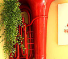 repurposed red hot tuba to decorative wall planter, crafts, gardening, home decor, painted furniture, repurposing upcycling