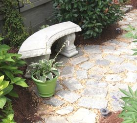Recycled Granite Block Patio, Outdoor Living, Patio, A Bench Gives The  Space Purpose