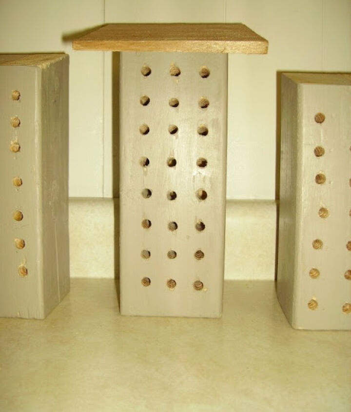 The bare Mason Bee home, prior to our painting.