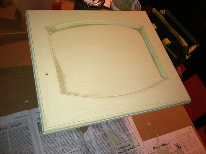 cabinet door up cycled with chalk paint and a few other goodies, repurposing upcycling