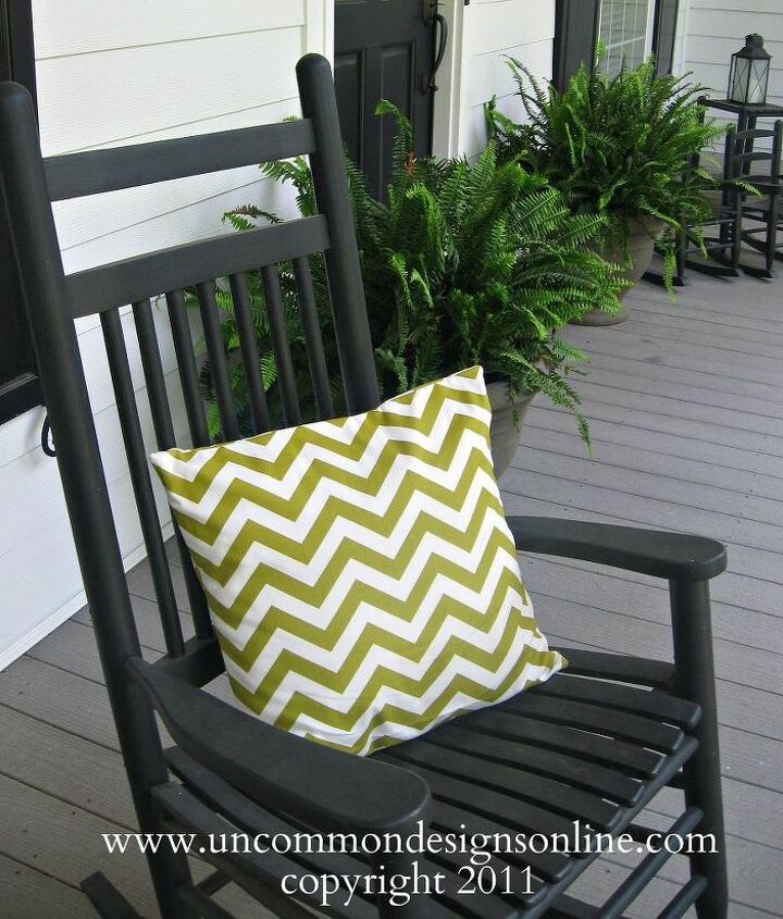 A simple green chenvron pillow makes this rocker inviting.