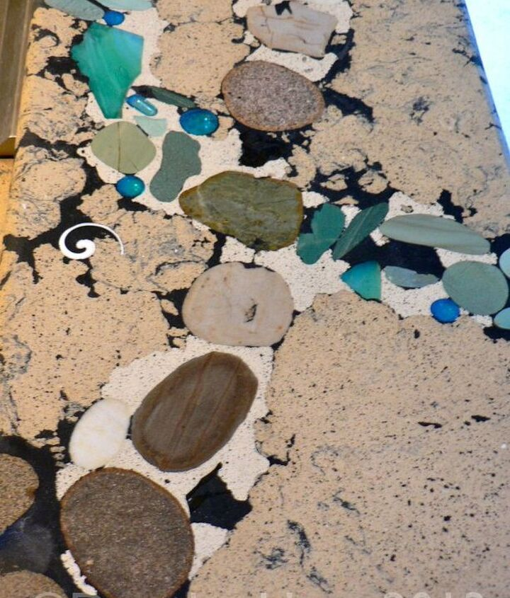 Detail of the concrete countertops made by a local artisan.
