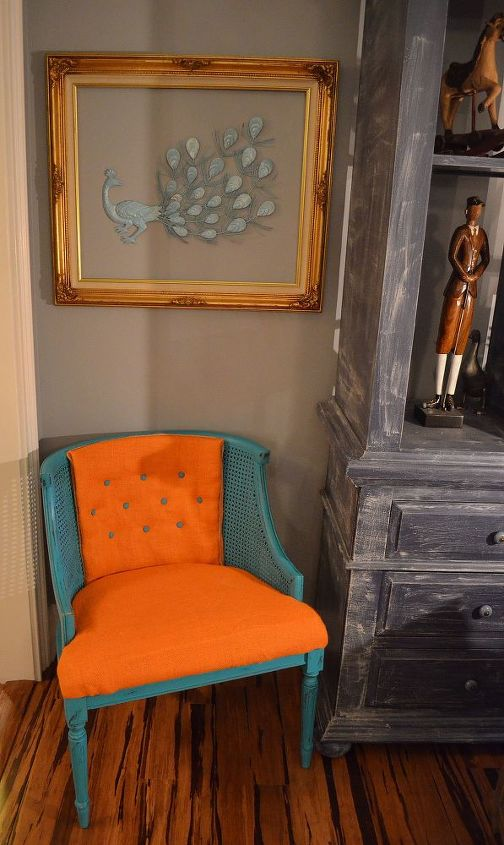 beginner reupholster vintage chair makeover, painted furniture, repurposing upcycling