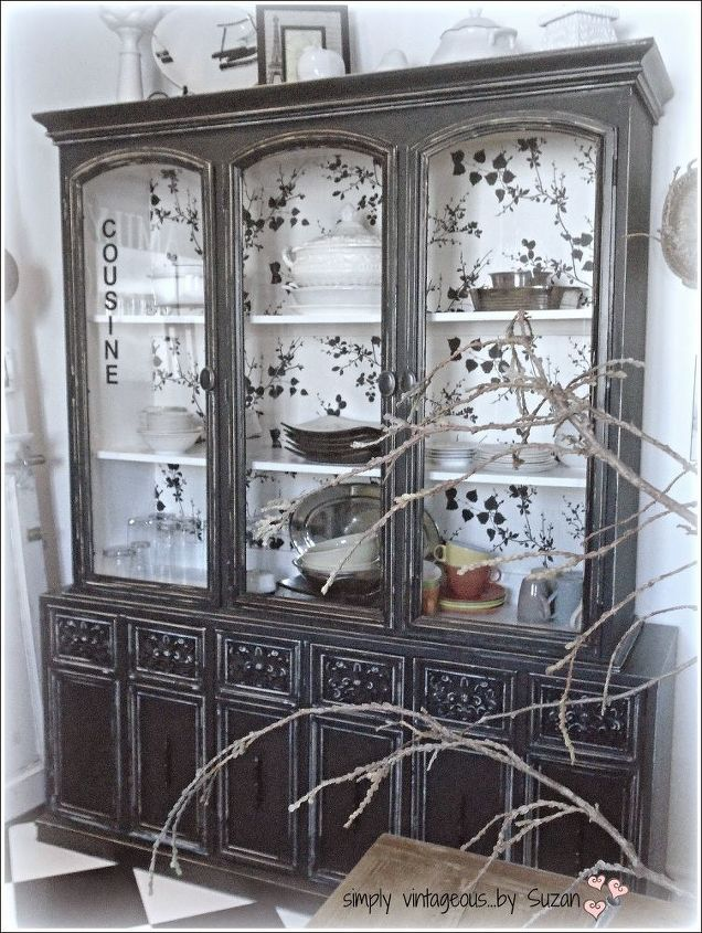 A Black Kitchen Hutch Chalk Paint Chalkboard Design Painted Furniture