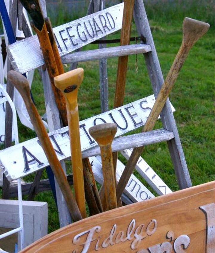 fence pickets turned into vintage-look signs