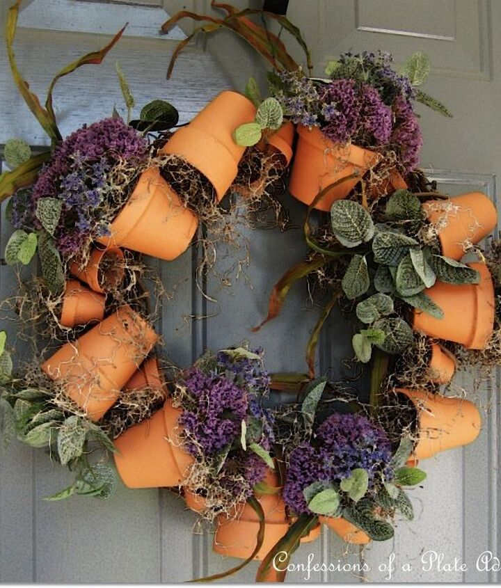 got some leftover flower pots make a wreath, crafts, repurposing upcycling, wreaths, Super easy wreath made from flower pots