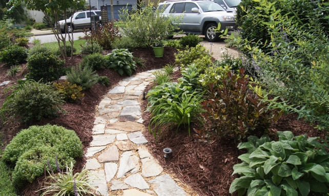 And our new flagstone path we laid along with new garden along the path! So much better!