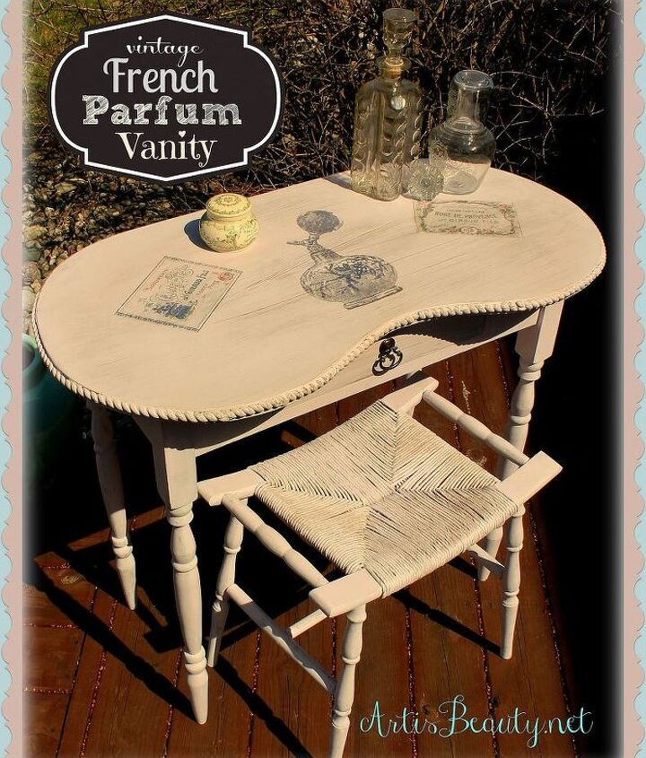 vintage parfum french vanity via freezer paper and the graphics fairy, painted furniture