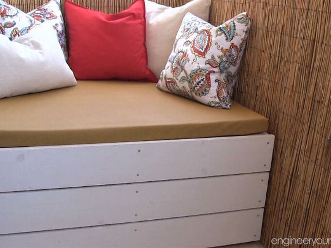 diy outdoor storage bench, outdoor furniture, outdoor living, painted furniture, porches, storage ideas, woodworking projects