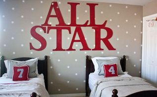 large craft letters, bedroom ideas, home decor, wall decor, Large Craft Letter and a Starry Wall