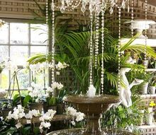 making a splash with a chandelier fountain, lighting, repurposing upcycling, I turned a corner at my favorite garden retailer and my jaw dropped idea credit Roger s Gardens Newport Beach CA