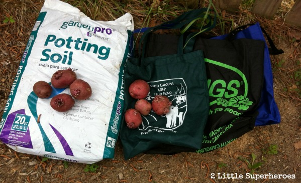 Materials needed, soil, potatoes, and reusable bags.