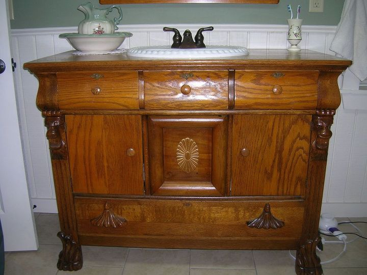sharing my vanity picture with you, bathroom ideas, home decor, sink put in and oak side cabinet