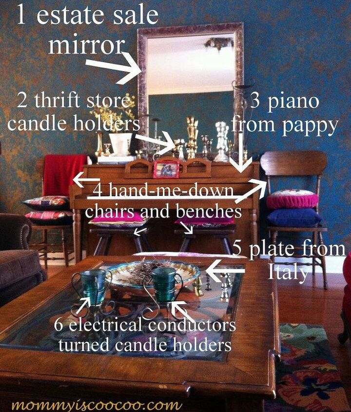 This post includes photos detailing where I got everything in this room from the roadside stool to the piano Pappy bought me when I was five.