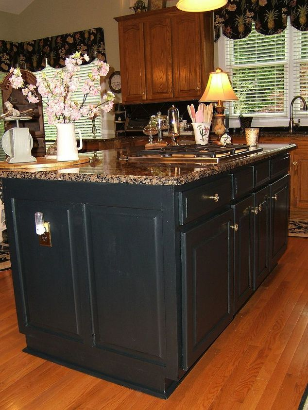 painting an oak island black kitchen cabinets kitchen design kitchen island painting - Black Kitchen Island