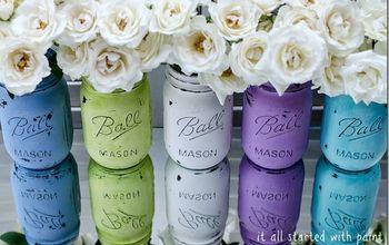 Painted & Distressed Mason Jar