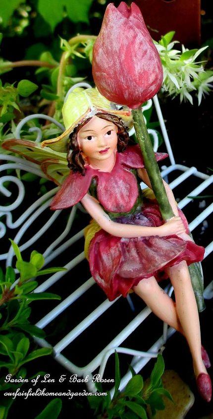 Tulip Fairy in her birdbath garden.