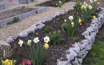 recycling concrete driveways into a beautiful rock garden wall, concrete masonry, flowers, gardening, landscape, perennial, repurposing upcycling, The first spring flowers opened up The neighbours love watching this garden grow