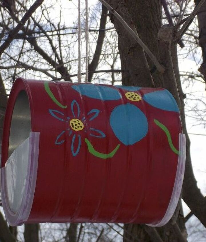 make easy bird feeders from recycled coffee cans, crafts, repurposing upcycling