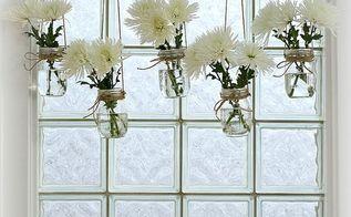 mason jar window treatment, crafts, home decor, mason jars, repurposing upcycling, Mason jar window treatment using jute rope and fresh flowers