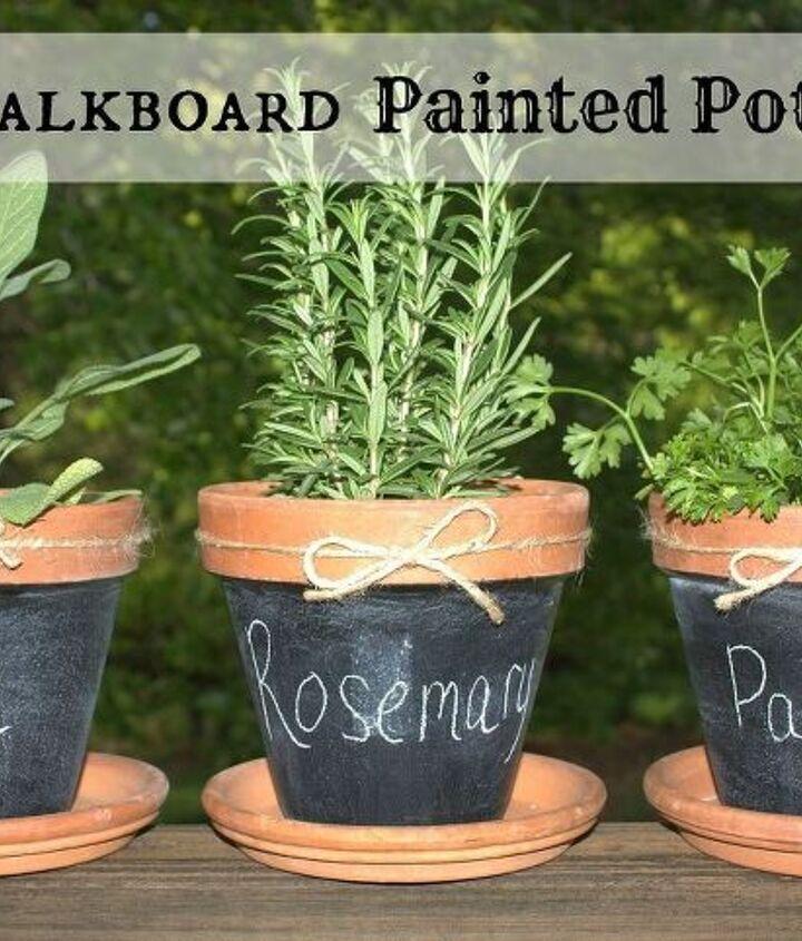 chalkboard painted pots, chalkboard paint, crafts, gardening