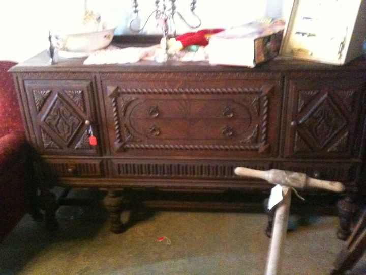 buffet to vanity, painted furniture, A diamond in the rough Buffets like this make the ideal vanity because the doors on either side help accomodate the plumbing
