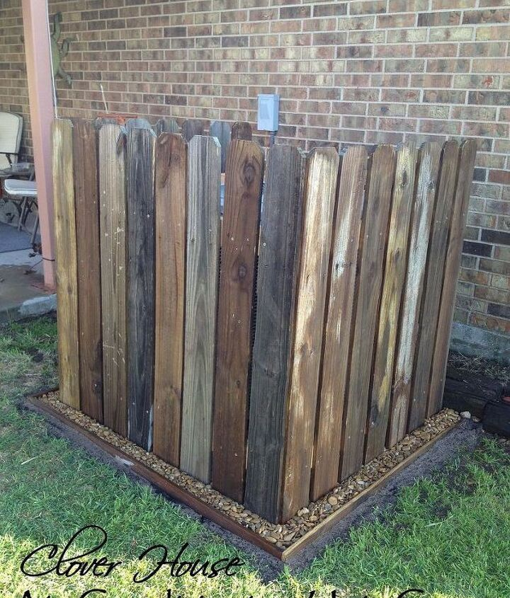 fence picket a c unit cover, curb appeal, diy, fences, how to, repurposing upcycling, And the after look using free fence pickets